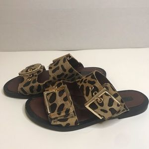 TopShop Cheetah Mohair Buckle Sandals